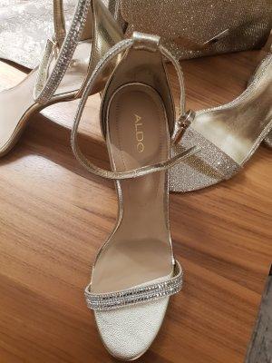 Aldo Hoge hakken sandalen zilver-goud