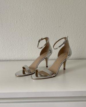 Aldo High Heels Sandaletten Sandale mit Absatz Riemchen Pumps Sommer Party Gr. 41 Metallic Metallisch