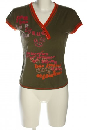 ALDO MARTIN'S V-Neck Shirt khaki-red embroidered lettering casual look