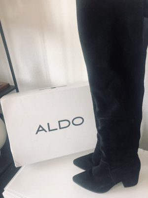 Aldo Overknee Stiefel Leder schwarz Leder Gr 39 blogger