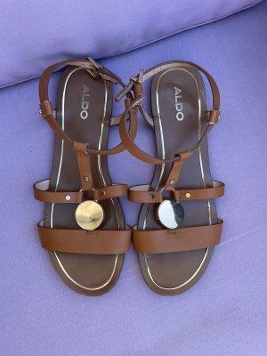 Aldo Strapped Sandals brown-gold-colored