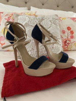 Aldo Hoge hakken sandalen licht beige-donkerblauw Leer