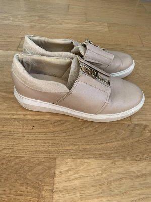 Aldo slipper Schuhe beige mit goldenen Reißverschluss