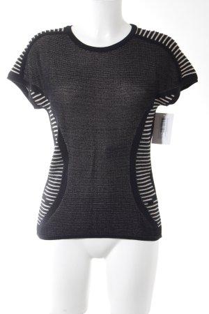 Aldomartins Sweater met korte mouwen zwart-wolwit gestippeld casual uitstraling