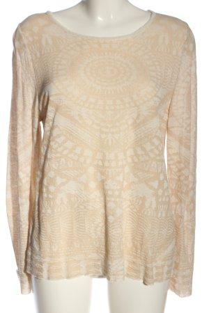 Aldomartins Kraagloze sweater room-wit volledige print casual uitstraling