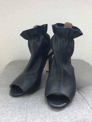Escarpins à bout ouvert noir cuir