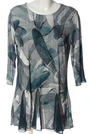 Alessa W. Camicetta lunga grigio chiaro-blu motivo astratto stile casual