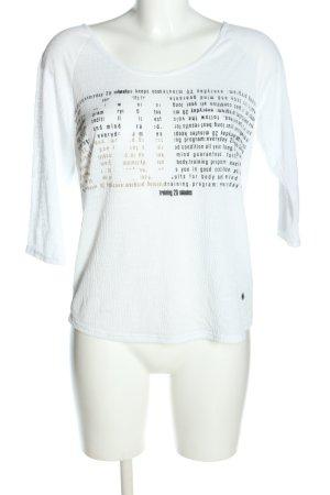 Alex Camiseta blanco-negro letras impresas look casual