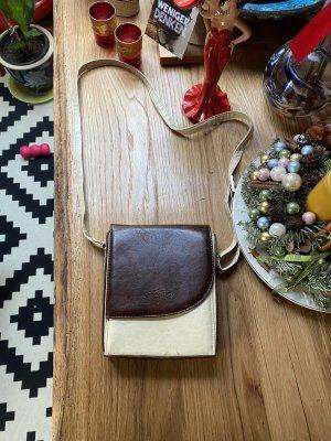 Alex Valentino Vintage Leder Tasche Umhängetasche Creme Braun