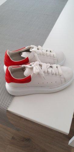 Alexander McQueen Sneaker stringata bianco-rosso neon Tessuto misto