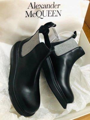 Alexander McQueen Botte courte noir-argenté cuir