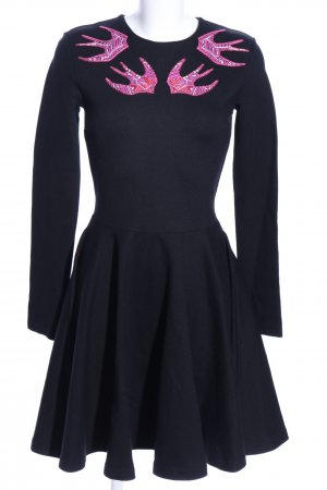 Alexander McQueen A Line Dress black-pink themed print casual look