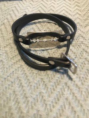 Alexander McQueen Braccialetto di cuoio nero-argento
