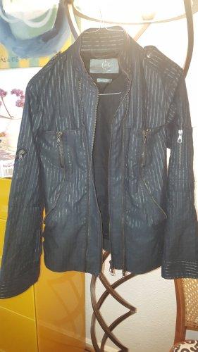 Alexander McQueen Bikerjack zwart-zilver Katoen