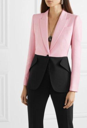 Alexander McQueen Lange blazer zwart-roze