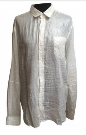 ALEXANDER MCQUEEN Bluse weiß-silber metallic schimmernd