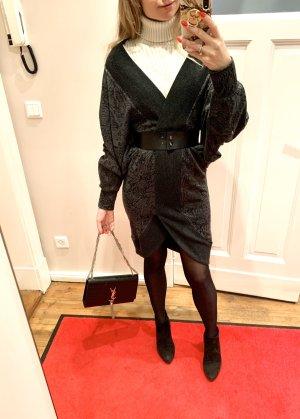 Alexander McQueen Wełniana sukienka czarny-ciemnoszary