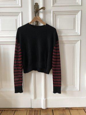 Alexander McQueen Oversized trui zwart-donkerrood