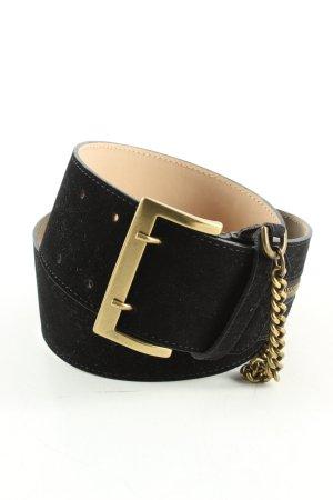 Alexander McQueen Cinturón de cuero negro-color oro estilo «business»