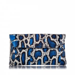 Alexander McQueen Clutch blue reptile leather