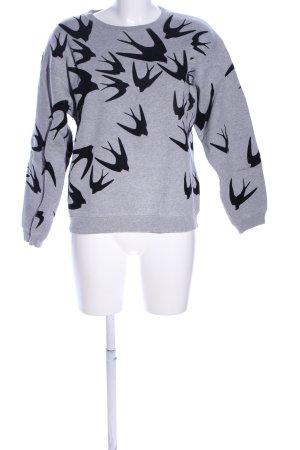 Alexander McQueen Kraagloze sweater lichtgrijs-zwart gestippeld