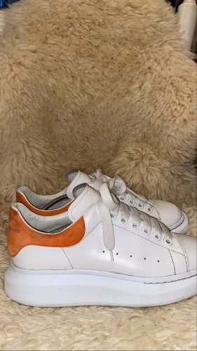Alexander McQueen High Top Sneaker dark orange-white leather