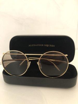 Alexander McQueen Ronde zonnebril goud-bruin