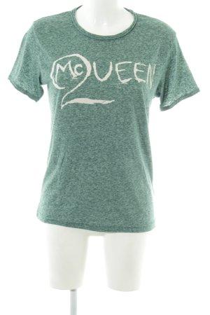 Alexander McQueen T-shirt groen-wit gestippeld casual uitstraling