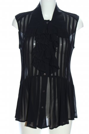 Alexander McQueen Transparent Blouse black striped pattern business style