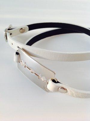 Alexander McQueen Pulsera blanco-color plata Cuero