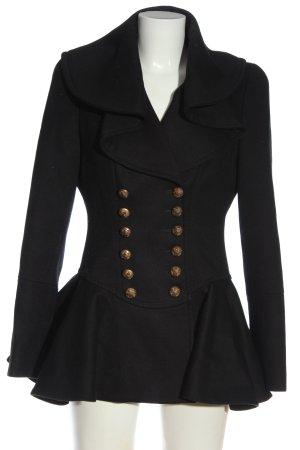 Alexander McQueen Wełniany płaszcz czarny W stylu casual