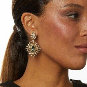 Alexis Bittar Clip d'oreille doré-bleu pétrole métal
