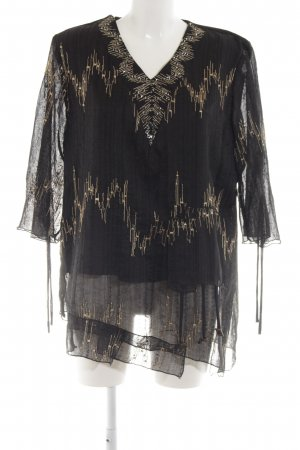 alexo Slip-over Blouse black-gold-colored abstract pattern elegant