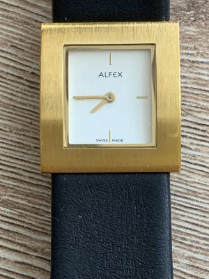 Alfex Watch With Leather Strap gold-colored