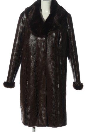 Alfredo Pauly Manteau en fausse fourrure brun-noir motif animal élégant
