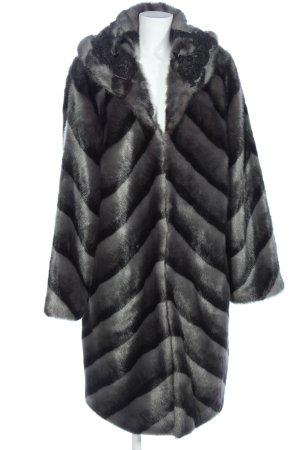 Alfredo Pauly Manteau en fausse fourrure gris clair-noir gradient de couleur