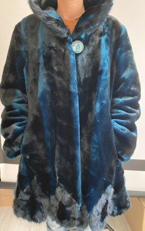 Alfredo Pauly Cappotto in eco pelliccia blu-nero