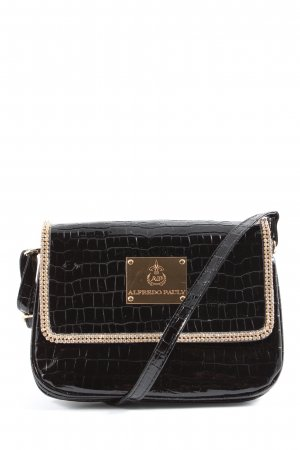 Alfredo Pauly Mini Bag black-gold-colored allover print elegant