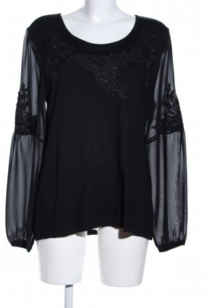 Alfredo Pauly Lace Blouse black flower pattern elegant