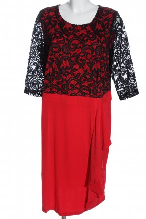 Alfredo Pauly Koronkowa sukienka czerwony-czarny Elegancki