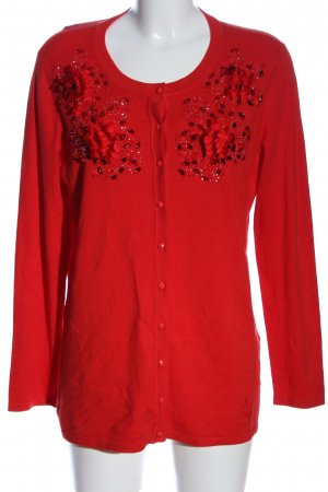 Alfredo Pauly Knitted Cardigan red embroidered lettering casual look