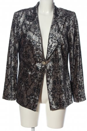 Alfredo Pauly Knitted Blazer black-light grey abstract pattern wet-look