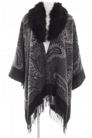 Alfredo Pauly Knitted Poncho light grey-black abstract pattern casual look