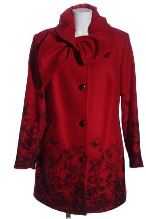 Alfredo Pauly Abrigo de invierno rojo-negro estampado floral look casual