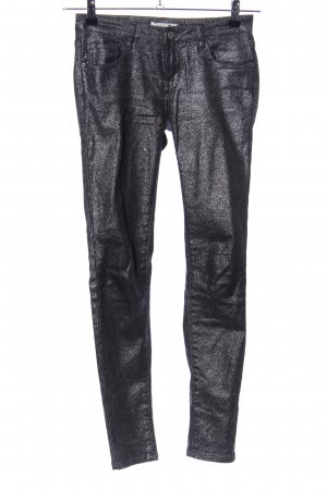 algo bonito Stretch Jeans black-silver-colored flecked extravagant style