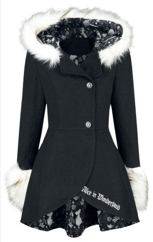 Alice in Wonderland Coat, Mantel, neu, schwarz mit Fellbesatz, Knöpfe fehlen