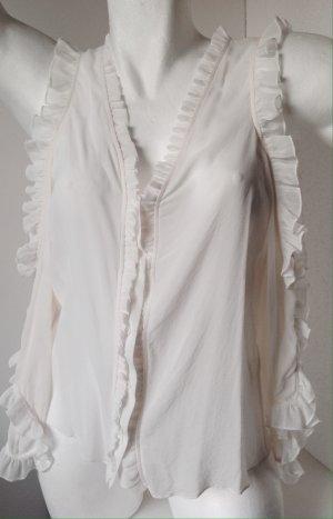 Alice + Olivia Ruffled Blouse white silk
