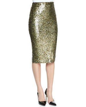 Alice + Olivia Pencil Skirt bronze-colored-green grey mixture fibre
