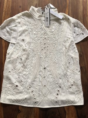 Alice + Olivia Short Sleeved Blouse white-silver-colored silk