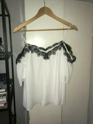 Alice + Olivia Top koszulowy biały-czarny